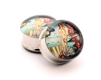 Birth of Venus Picture Plugs gauges - 16g, 14g, 12g, 10g, 8g, 6g, 4g, 2g, 0g, 00g, 7/16, 1/2, 9/16, 5/8, 3/4, 7/8, 1 inch
