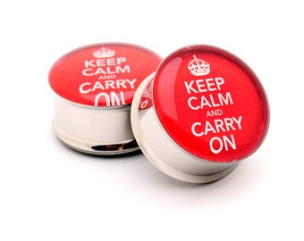 Keep Calm and Carry On Picture Plugs gauges - 16g, 14g, 12g, 10g, 8g, 6g, 4g, 2g, 0g, 00g, 1/2, 9/16, 5/8, 3/4, 7/8, 1 inch