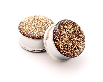 Embedded Copper Glitter Plugs gauges - 00g, 1/2, 9/16, 5/8, 3/4, 7/8, 1 inch