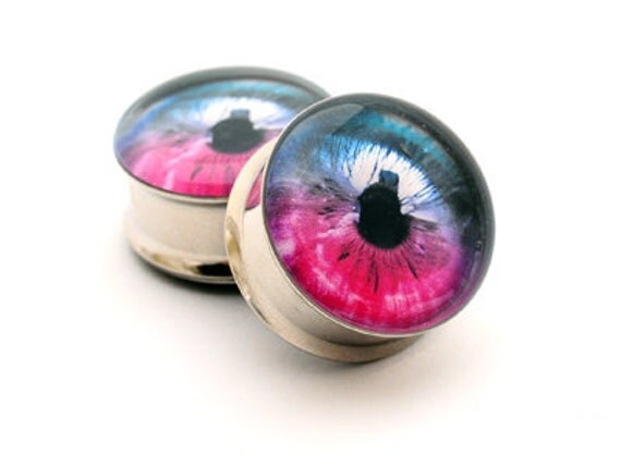 Eyeball Picture Plugs gauges - 16g, 14g, 12g, 10g, 8g, 6g, 4g, 2g, 0g, 00g, 1/2, 9/16, 5/8, 3/4, 7/8, 1 inch STYLE 4