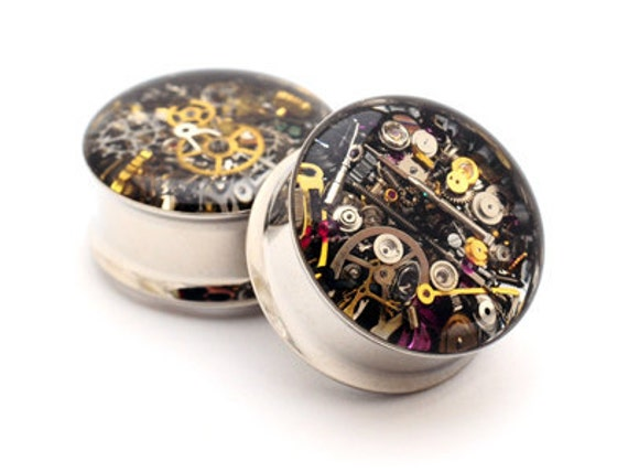 Steampunk Watch Parts Plugs gauges - 7/16, 1/2, 9/16, 5/8, 3/4, 7/8, 1 inch