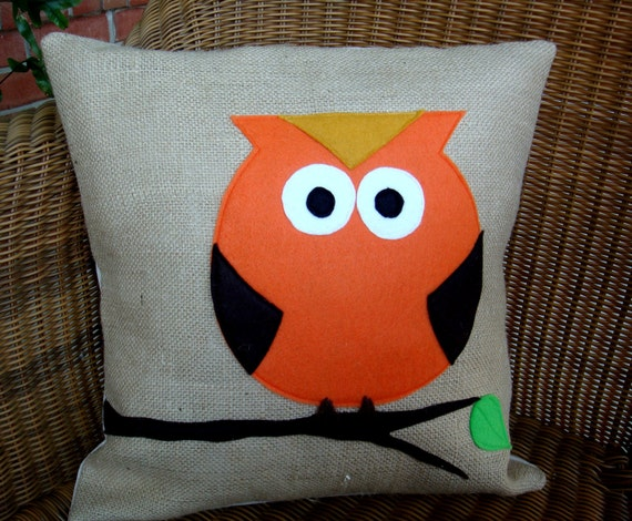 Owl Throw Pillow Etsy : Items similar to Owl pillow COVER- Owl on a Limb Throw Pillow Cover- 16
