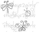 DIGITAL STAMP - 2 Flying Bugs