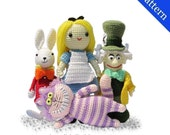 Alice in Wonderland, Mad Hatter, White Rabbit and Cheshire Cat -  PDF Amigurumi crochet patterns