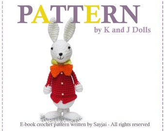 ENGLISH Instructions - Instant Download PDF Crochet Pattern White Rabbit from Alice in Wonderland