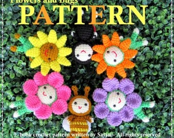 ENGLISH Instructions - Instant Download PDF Crochet Pattern Flowers and Bugs