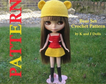 ENGLISH Instructions ONLY - Instant Download PDF Crochet Pattern Bear Hat and Dress