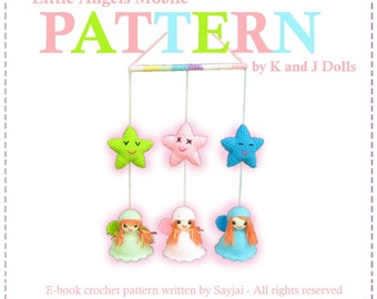ENGLISH Instructions - Instant Download PDF Crochet Pattern Little Angels Mobile