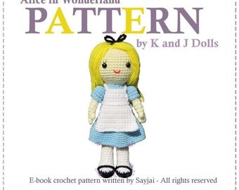 ENGLISH Instructions - Instant Download PDF Crochet Pattern Alice in Wonderland doll