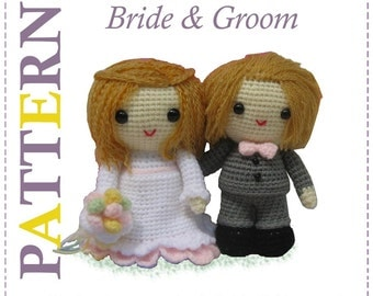 ENGLISH Instructions - Instant Download 2 PDF Crochet Patterns Wedding Bride and Groom