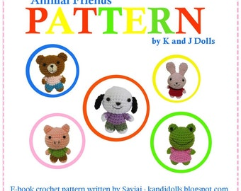 ENGLISH Instructions ONLY - Instant Download PDF Crochet Pattern Animal Friends