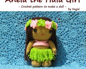 ENGLISH Instructions - Instant Download PDF Crochet Pattern Anela the Hula Girl