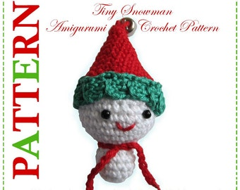 ENGLISH Instructions - Instant Download PDF Crochet Pattern Tiny Snowman