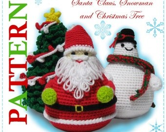 ENGLISH Instructions - Instant Download PDF Crochet Pattern Santa Claus, Snowman and Christmas Tree