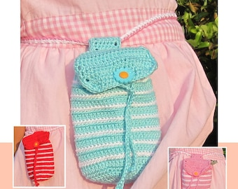 ENGLISH Instructions - Instant Download PDF Crochet Pattern Striped Bag Instructions
