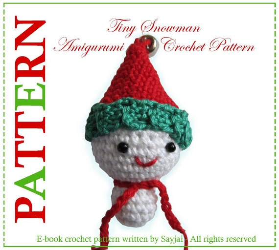 ENGLISH Instructions - Instant Download PDF Crochet Pattern Tiny Snowman
