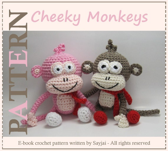 ENGLISH Instructions - Instant Download PDF Crochet Pattern Cheeky Monkeys