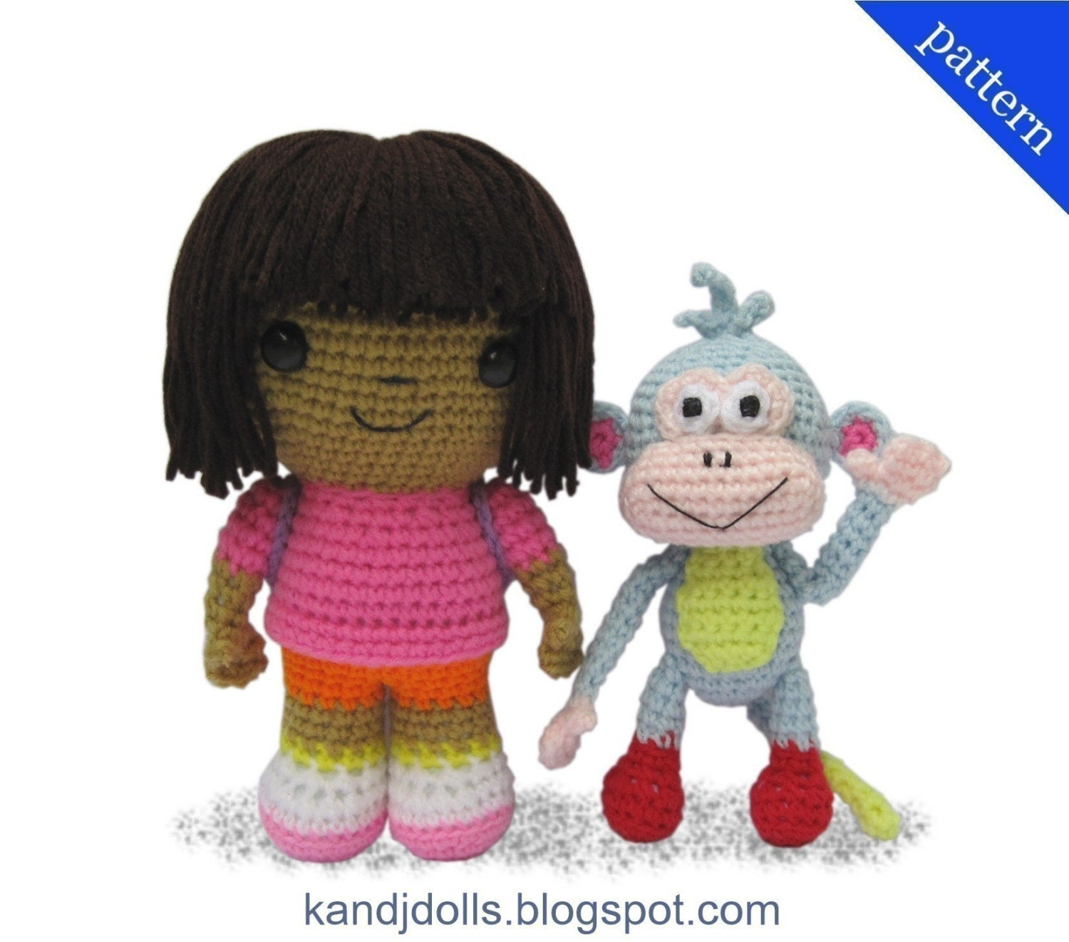 Knitting Pattern For Dora The Explorer Doll : Dora the Explorer and Boots 2 PDF Amigurumi crochet by kandjdolls