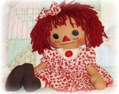 Doll Pattern, Annie has a NEW DRESS includes DOLL and clothes, pdf rag doll sewing pattern, primitive raggedy ann, annie, instant download