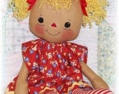Cloth Doll Pattern, Rag doll pattern, PDF Sewing Pattern, raggedy ann, annie pattern, primitive doll pattern