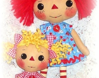 primitive Doll Pattern, PDF sewing pattern, Rag Doll Pattern, Cloth Doll Pattern, Raggedy Ann, Annie pattern