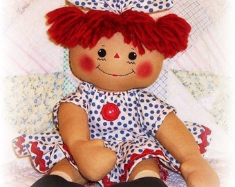 Chubby doll pattern, huggable Soft Doll Pattern, PDF sewing pattern, Rag Doll Pattern, raggedy Ann, primitive doll, Annie pattern