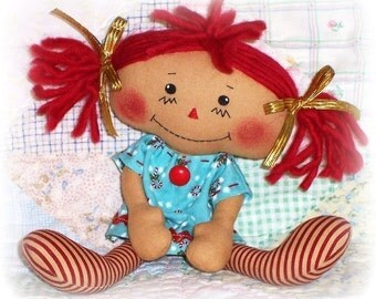 Small Doll Pattern, PDF sewing pattern, Primitive doll pattern, Rag Doll Pattern, raggedy Ann, Annie pattern, instant download
