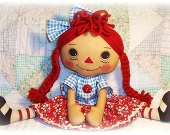 Large Cloth Doll pattern, PDF sewing pattern, Rag Doll, Raggedy Ann Pattern, primitive doll pattern, annie doll pattern