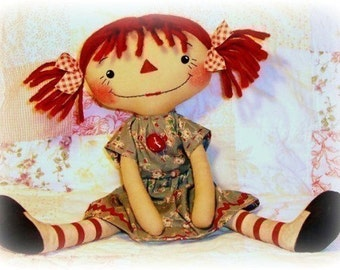 Primitive doll pattern, Raggedy ann pattern, primitive annie PDF sewing pattern, Rag Doll Pattern, Cloth Doll pattern