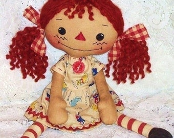 Rag Doll Sewing Pattern, PDF pattern, Cloth doll, primitive doll pattern, Raggedy Ann, Annie pattern, digital download, instant download