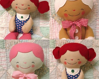 Rag Doll PATTERN, PDF pattern, Cloth Doll, Softie, Soft Toy, Cookie, Gingerbread Man, Instant Download, Digital Download