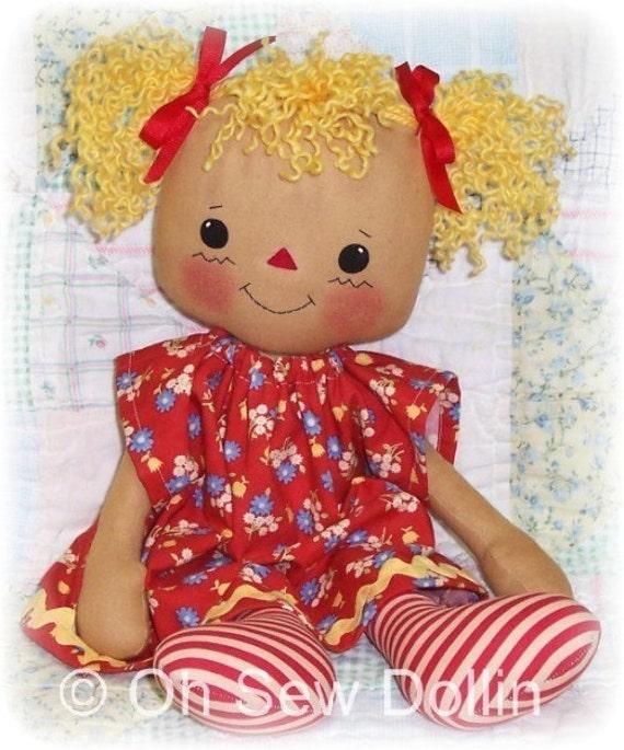 Cloth Doll Pattern, Rag doll pattern, PDF Sewing Pattern, raggedy ann, annie pattern, primitive doll pattern