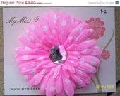 Shop closing 40% off girl hair clip pink polka dot flower clip