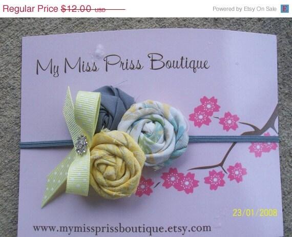 Shop closing 60% off rolled fabric rose headband yellow, ivory, grey.....0-6 month headband