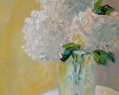 Oringinal Impasto12x12 Oil  White Hydrangeas