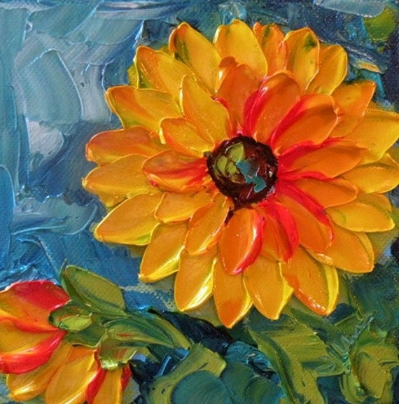 Original Painting Impasto Sunflower Flower on Powder Blue Palette Knife Flowers