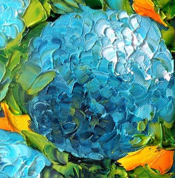 Original Painting Free Shipping USA Palette Knife Hydrangeas, 6x6, canvas, Original Oil Fine Art, Impasto, Palette Knife by Jan Ironside