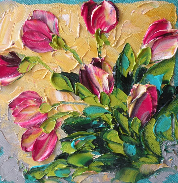 Unique Wedding favor or Bridesmaid gift Shades of Pink Tulips Original Painting