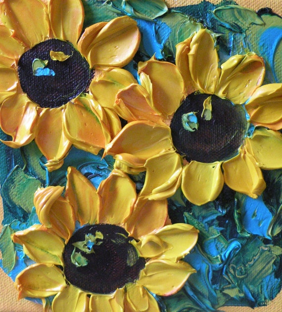 Sunflower on canvas Original Small wall decor Impasto Painting