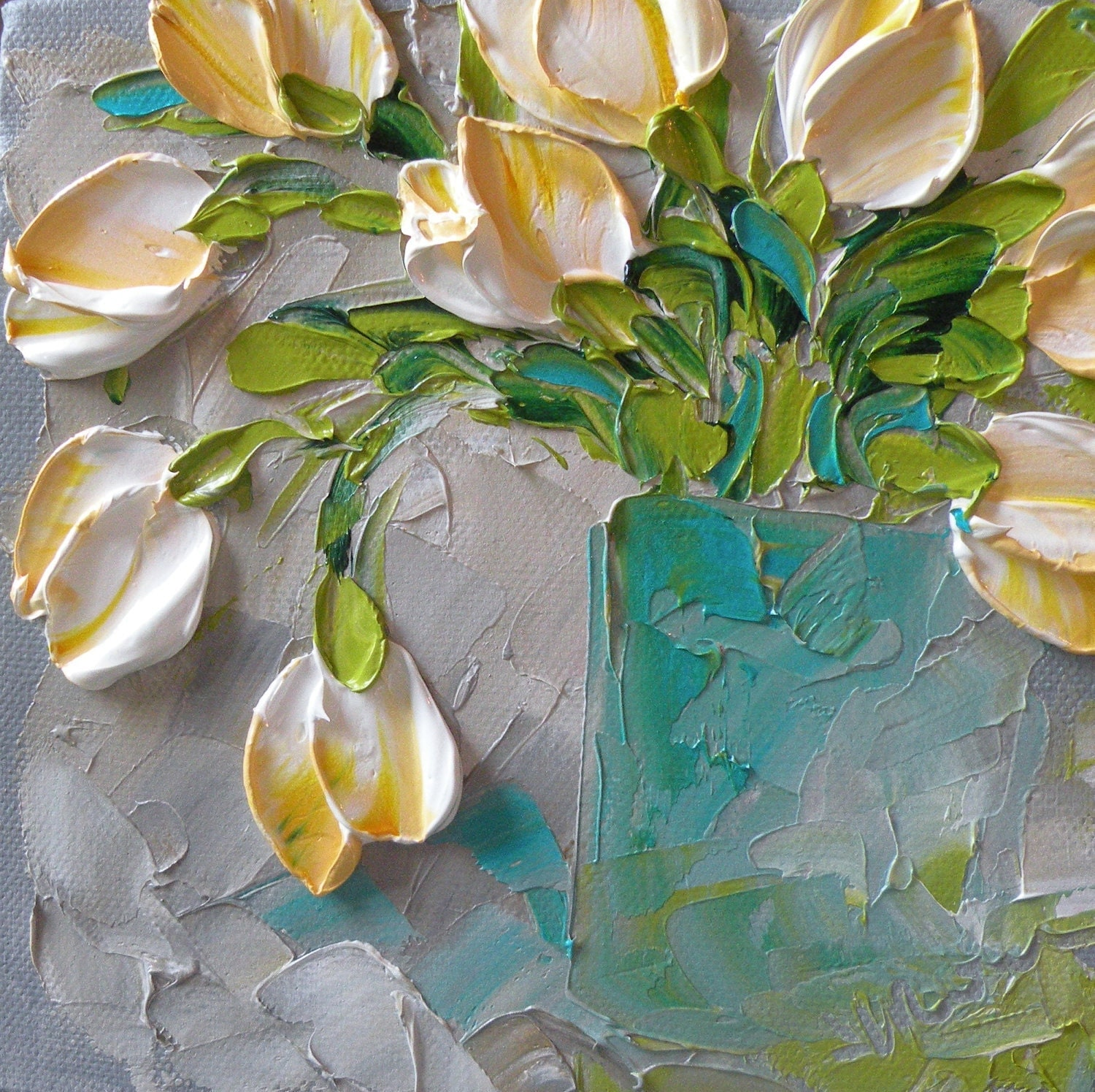 Original Painting Impasto White Tulips Free Shipping USA