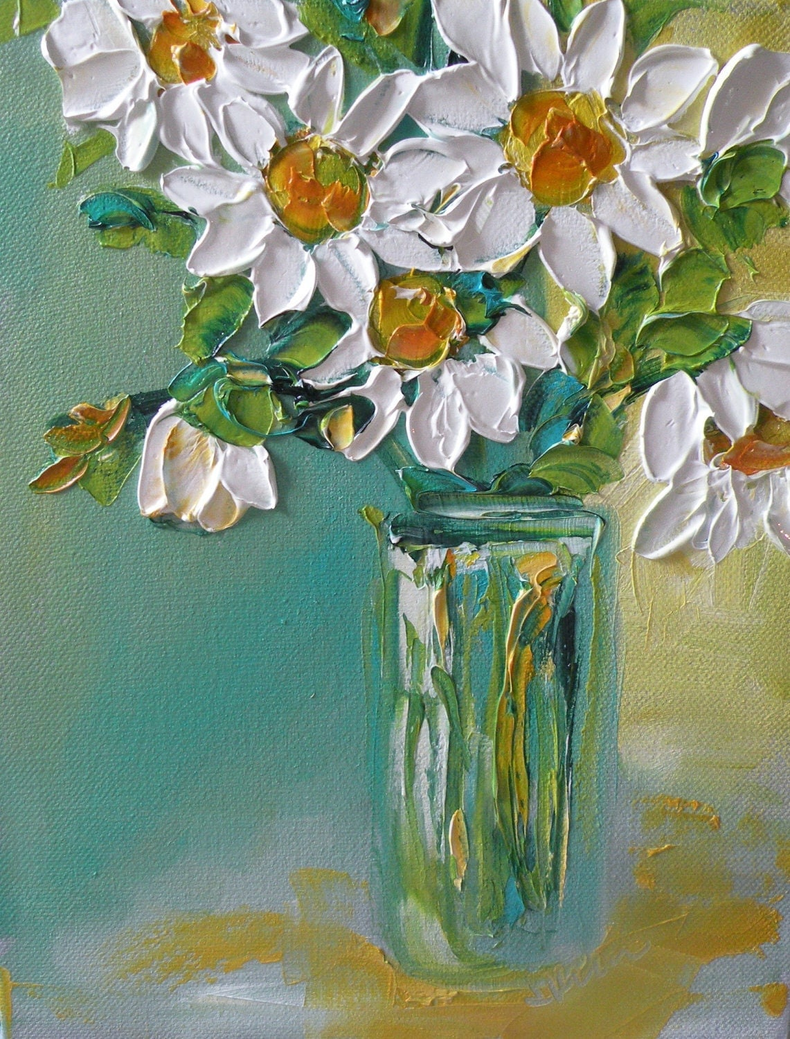 Original oil painting impasto daisy flowers bouquet on canvas for Flower paintings on canvas