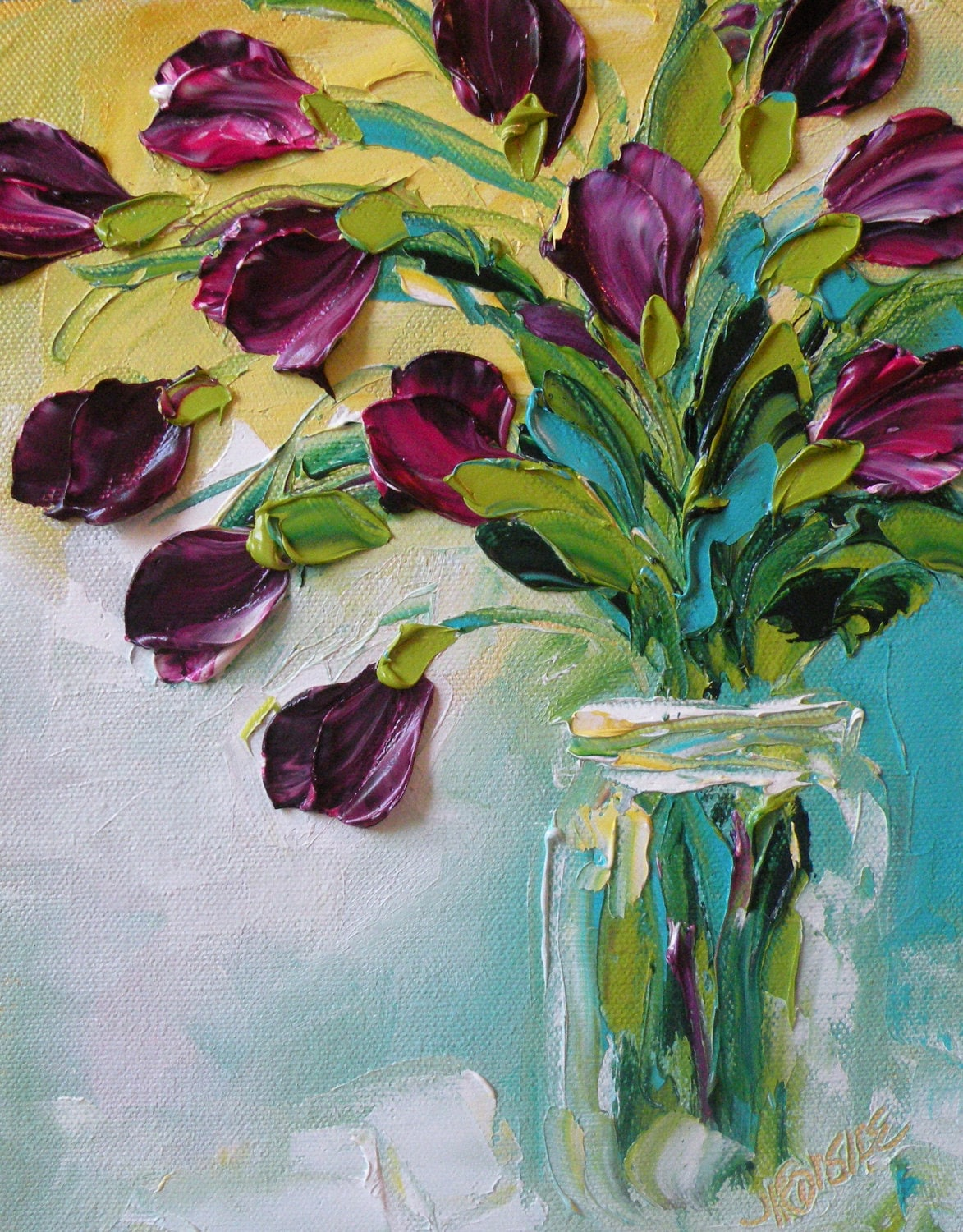 Original oil painting purple tulips impasto palette knife oil for Texture painting on canvas