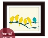 Little Yellow Birdies on a Branch - Art Print - Cool Color Palettes (Turquoise accent bird) Customizable Colors