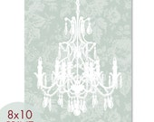 Rustic French Chandelier 8x10 Print -(Silver Sage) French Country Inspired (Customizable Colors) Buy 3 get one Free