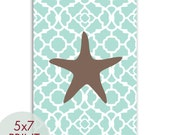 Starfish 5x7 PRINT (Duck Egg Blue and Brown) (Modern French Style) Nautical/Beach Theme (Customizable Colors) Buy 3 get one Free