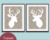 Deer Head Silhouette Prints - Set of 2 - Art Prints (Featured in Truffle Brown) Vintage Modern Decor