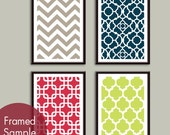 Modern Patterns (Series A) Set of 4 - Art Prints (Featured in Truffle Brown, Navy, Ruby Red and Celery)