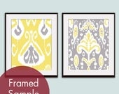Ikat Patterns set of 2 (series B) - 8x10 Prints (Featured in Canary Yellow and Dolphin) Customizable Colors