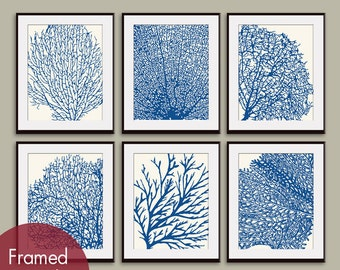 Underwater Sea Coral Collection (Series D) Set of 6 - Art Prints - Featured in Soft Cream and Hotel Towel
