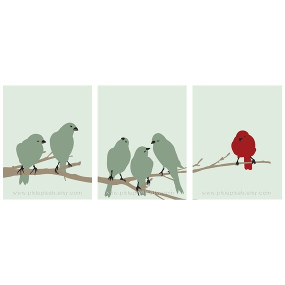 Birds on a Branch Art Series - Set of 3 Art Prints (Modern Style) Customizable Colors)